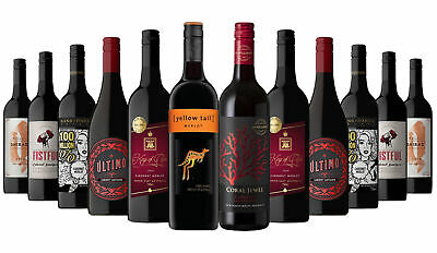 AU Red Wine Mix with Yellow Tail Merlot (12x750ml) RRP$219 Free Shipping