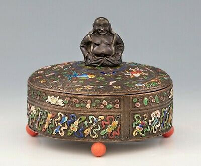 Antique Chinese BOX with a Bronze Buddha