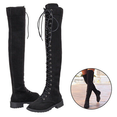 af121f17e7c Women Low Heel Boots Flat Shoes Over The Knee Lace Up Bandage Thigh High  Combat