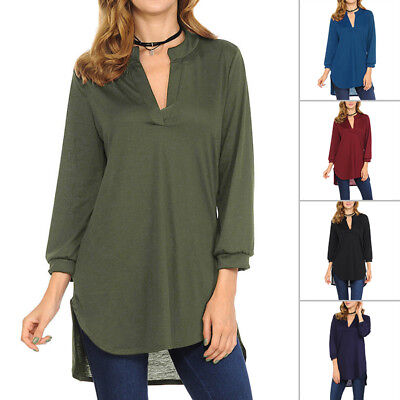 New Womens Solid Color V-Neck Long T-shirt Ladies Casual Loose Blouse Tunic Tops
