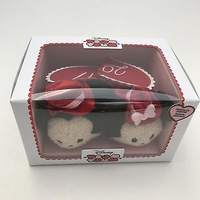 Disney Store Mickey & Minnie Mouse Chocolates Plush Tsum Love Set 2 Minis Heart