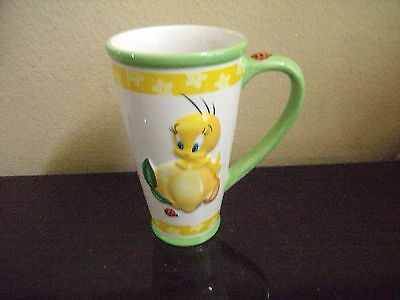 Looney Tunes 2001 Warner Bros.Yellow Dimensional Tweety Bird Latte Mug - NEW!