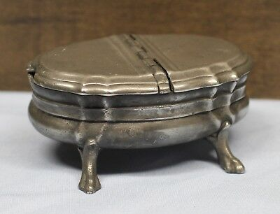 Continental Pewter Lidded Footed Salt/Spice Box w/ Dual Compartments  19thC