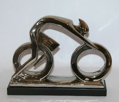 Abstract CYCLIST Contemporary Sculpture Ornament (34cm) Electroplated *NEW*