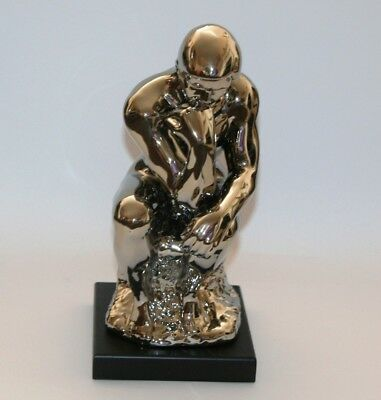 THINKING MAN Figure Contemporary Sculpture Ornament (34cm) Electroplated *NEW*