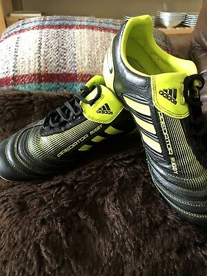 Adidas Predator Size 6 Soft Ground Rugby Boots Black Yellow
