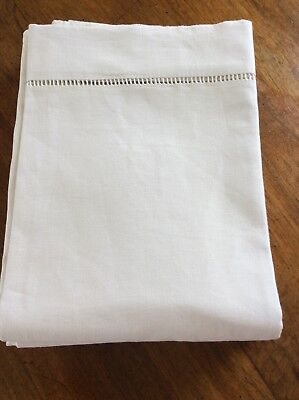 Long French Vintage Linen Double Sheet With Ladderwork Trim