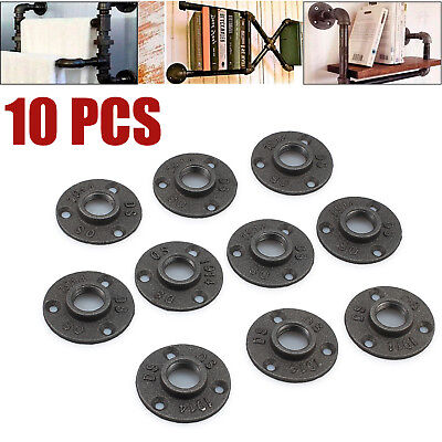 """10X Malleable Threaded Black Floor Flange Iron Pipe Fittings BSP Wall Mount 3/4"""""""