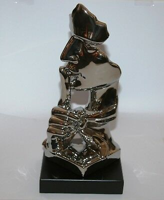 Abstract FACE Quiet Man Contemporary Sculpture Ornament (37cm) Electroplated NEW