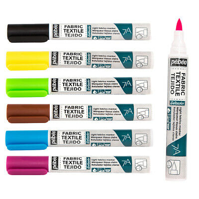 Pebeo 7A Light Fabrics Paint 1mm Nib Marker Pens Available in 18 Colours