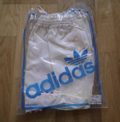 Vintage White ADIDAS 1980s Shiny Poly Shorts Made In England 90/36 In Bag Glanz