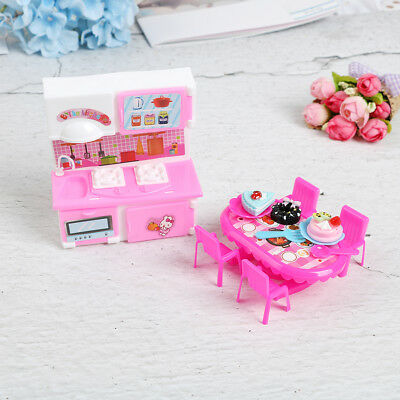 Dolls kitchen furniture for doll table chair dinnerware cabinet kids toy