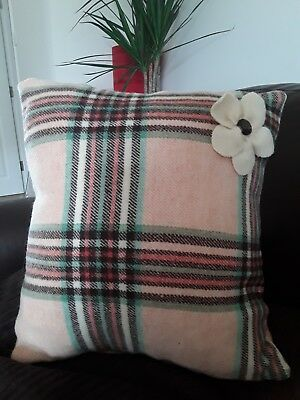 Brown re check Welsh wool cushion cover from uocycled blanket approx 14 x 14