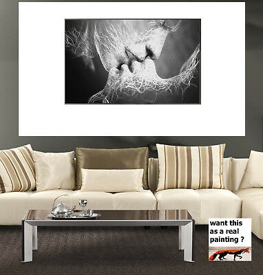 Black White Love Kiss Abstract Art Home Canvas Painting Wall Art Framed Print