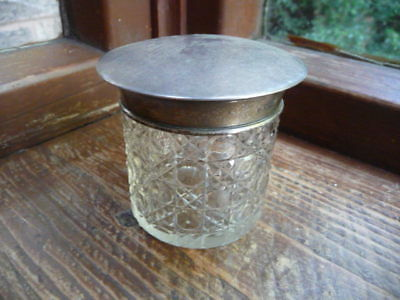 vintage  silver  topped  dressing  table  jar  hallmarked