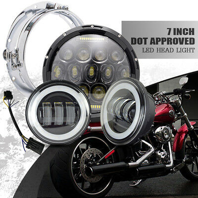 """7"""" Motorcycle Led Daymaker Headlight+Passing Fog Lamp For Yamaha Road Star 1700"""