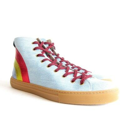 c975825c8ef P-405252 New Gucci Denim Jean High Top with Rainbow Sneakers Size UK 12 US
