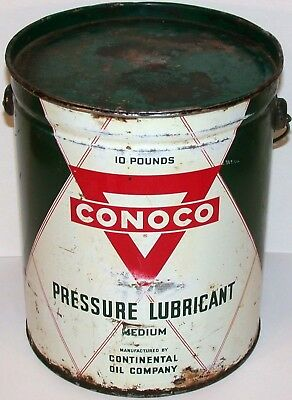 Vintage oil can CONOCO PRESSURE LUBRICANT 10 pound bail and lid Continental Oil