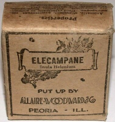 Vintage pharmacy box ELECAMPANE with pic Allaire Woodward and Co Peoria ILL full