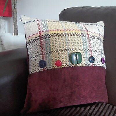 Purple check Welsh wool cushion cover from uocycled blanket approx 13 x 13