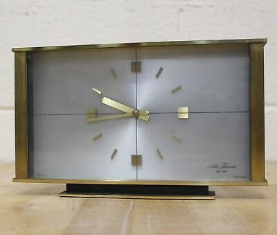 """Seth Thomas"" Scotland Solid Brass Battery Mantle/Carriage Clock -Working- 223"