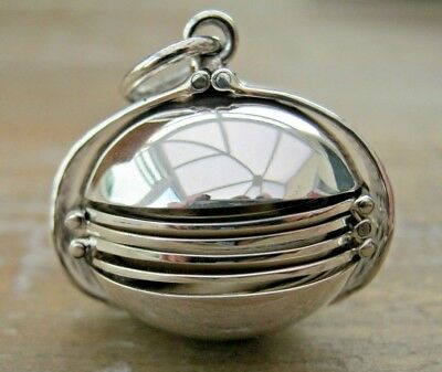 Beautiful Hallmarked Sterling 925 Silver Folding Photo Ball Locket Pendant Fob