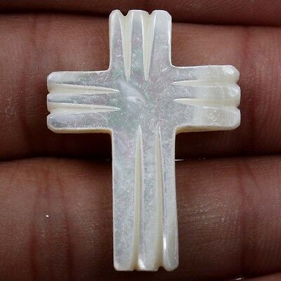 Superb WHITE MOTHER OF PEARL Cross Carving 18.5 Cts Gemstone 31x23 mm  S-22253