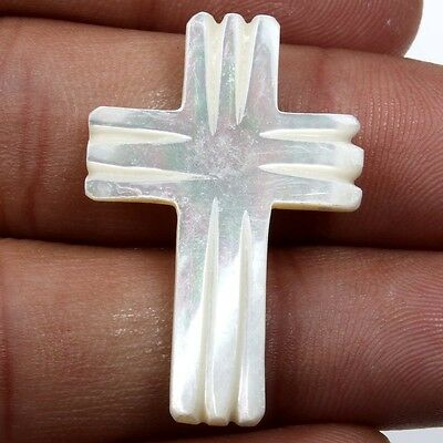 12.0 Carats White MOTHER OF PEARL Carving Cross Flat Gemstone 32x21 mm S-22227