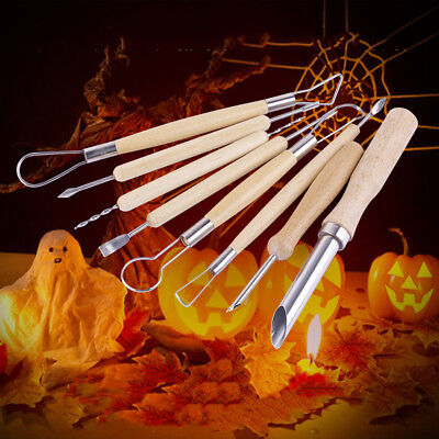 8PC Pumpkin Carving Tools- Halloween Sculpting Kit With 6 Double Sided Pieces UK