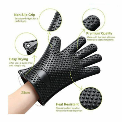 Pair of Gloves Heat Resistant Silicone Gloves Kitchen BBQ Cooking Oven Mitts UK