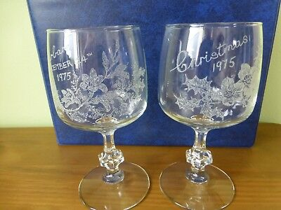 Two hand engraved wine glasses signed by author & illustrator Mabette Jardine