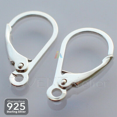 925 STERLING SILVER EARRING EARWIRES LEVER SCROLL BACK 17mm NOT Plated