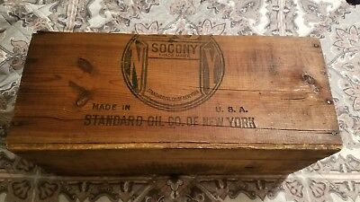 Vintage Socony Standard Oil Co Wooden Shipping Crate Box