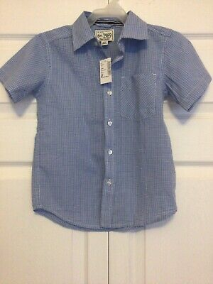 Toddler Boy Short Sleeve 4T Shirt Childrens Place Blue White Checked Cotton New