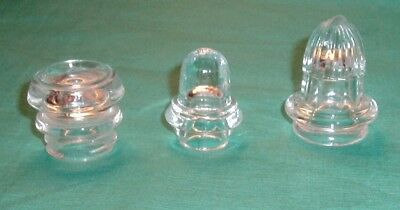 Vintage Lot of 3 Glass Percolator Knob Dome Top For Coffee Pot