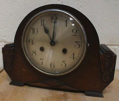 Vintage 1930's Art Deco Wooden Mantel Clock - 207