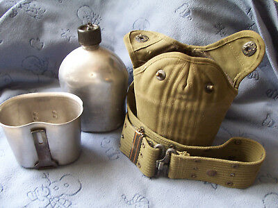 WW II US Military Army Belt & Canteen w/ cover web pistol belt..Cup 1945