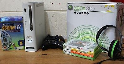 XBOX 360 Console Bundle + 4 Games + 2 Controllers + Headset + Leads - 226