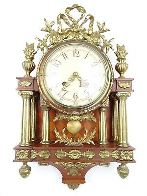 Swedish Vintage Antique Wall Clock Gustavian Gilt (Junghans Westerstrand era)