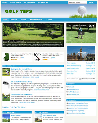 GOLF GUIDE - Responsive Niche Website Business For Sale - Free Installation
