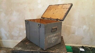 Vintage Military Navy Crate 20mm Oerlikon Cannon Industrial Rustic Strong Box