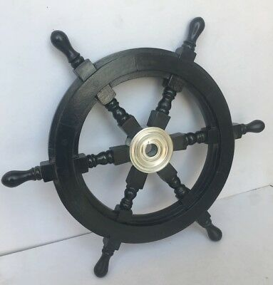 """30"""" Black Spoke Wooden Ship Wheel Home Wall Decor with Brass Centre Section Item"""