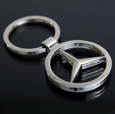 Hollow Out Car Logo Metal Keychain Pendant Holder Silver Keyring for MERCEDES