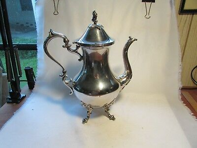 Antique Birmingham Silver On Copper Coffee Pot With Flower Lid Stamped 12 Cup
