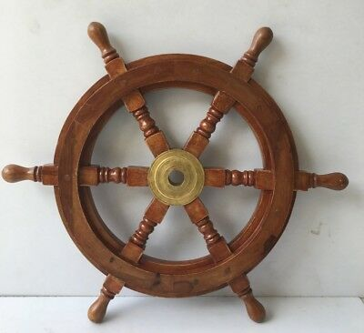 "30"" Vintage Nautical Marine Wooden Brass Ship Wheel Pirate Wall Decor Gift Item"
