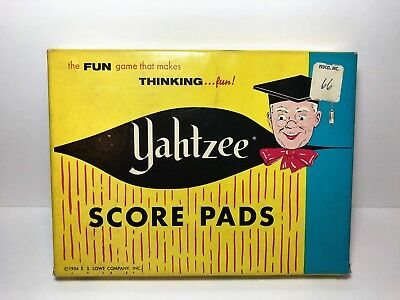 Vintage Yahtzee Game Score Pads in Box by E.S. Lowe Company 1956