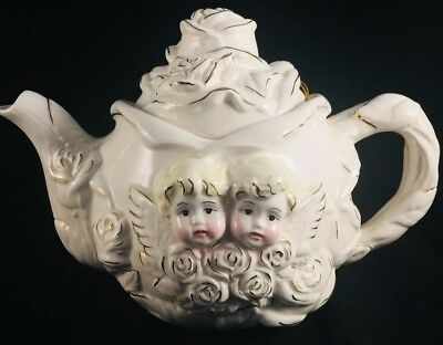 "AAA Imports Inc. Cherub Tea Pot 7"" Tall white gold accents vintage chic decor"