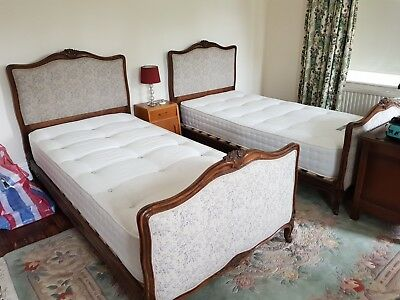 2 beautifully upholstered  antique french louis xv beds