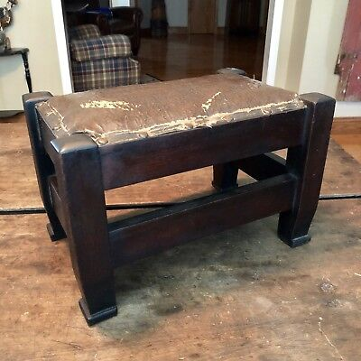 Antique Vintage Wood Wooden Leather Foot Stool Ottoman Dark Brown Well Built