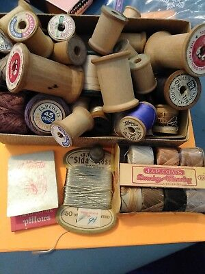 Vintage Lot Of Wooden Thread Spools And Thread